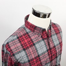 J Crew Mens Large Washed Tartan Oxford Casual Button Front Red Gray Plaid Cotton - $19.95