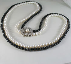SOLID 18K WHITE GOLD NECKLACE WITH ROUND PEARLS, ONYX AND DIAMONDS MADE IN ITALY image 7