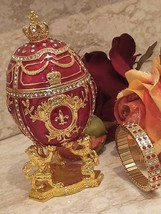Faberge egg Trinket box Russian style 24K GOLD IMPERIAL Lions 200 Swarovski HMDE - $249.00