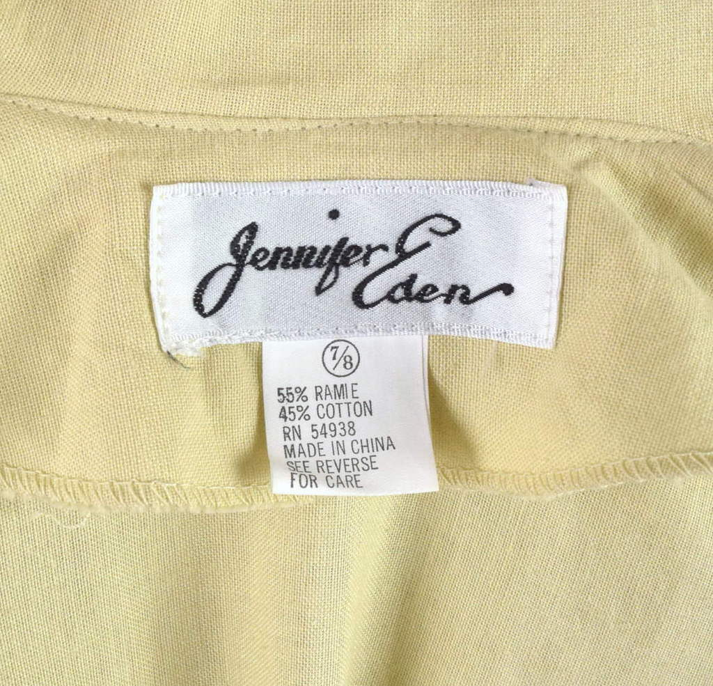 Vintage 80s Beige Cream Maxi Dress Cracker Jack Collar Short Sleeve Retro Size M image 8