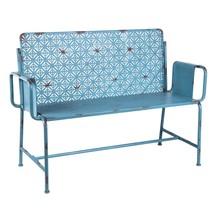 Moroccan Retro Outdoor Blue Metal Garden Bench,50''L. - $569.25