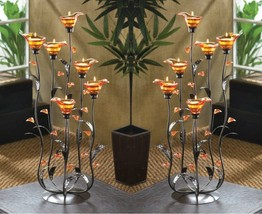 2 Tea Light Candle Holders w/ Iridescent Amber Lily Bloom Cups on Curing Stems - $83.45