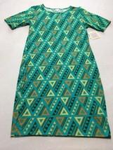 NWT Lularoe 2XL XXL Aqua Teal Tan Triangle Geometric Julia Dress Womens - $21.99