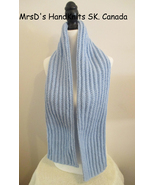56 Inch Light Blue Handknit Ribbed Scarf HandMade in Canada - $23.00