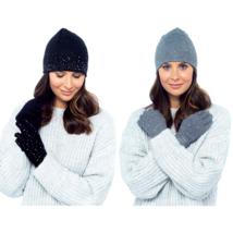 Foxbury Diamante Womens Ladies Winter Beanie Hat and Gloves Set - One Size - $9.72