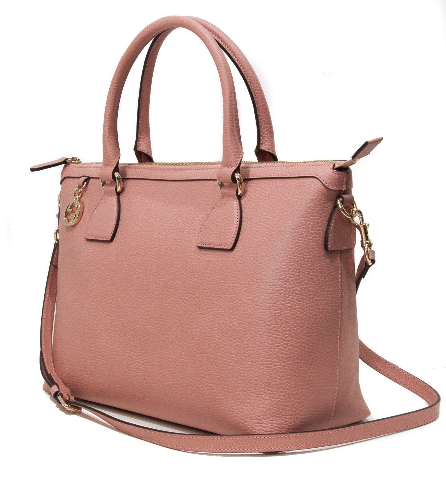 1297f795ea1 GUCCI 449650 Leather Soft Pink w Interlocking G Charm and Shoulder Strap  handbag