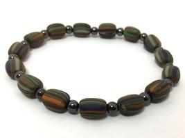 Expandable Multi-Color Striped Quartz Beaded Fashion Bracelet - $5.69
