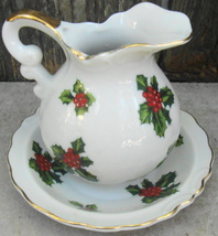 Lefton Christmas Holly and Berry Cream Pitcher w Underplate Hand Painted - $15.00