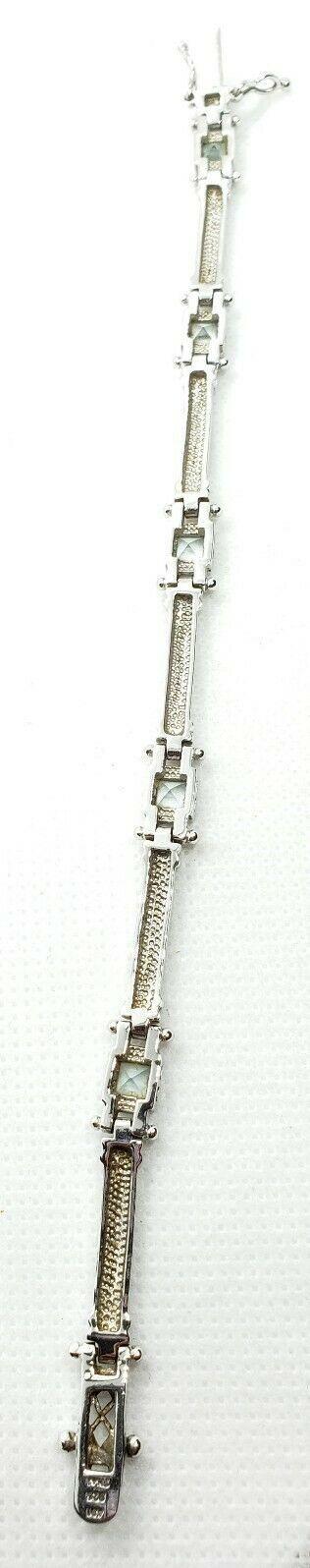 "ADI 7.25"" Sterling Silver 925 Light Blue Topaz Tennis Link Bracelet image 5"