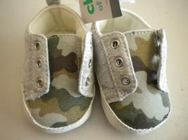Carters Child of Mine Newborn Size NB Camouglage Slip On Tennis Shoes - $4.94