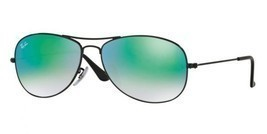 Ray Ban RB3362 002/4J Cockpit Sunglasses 59mm Black Frames Green Mirrore... - $118.23