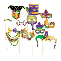 Mardi Gras Photo Stick Props Fun Party Activity Decorations, Set of 12 - £10.03 GBP