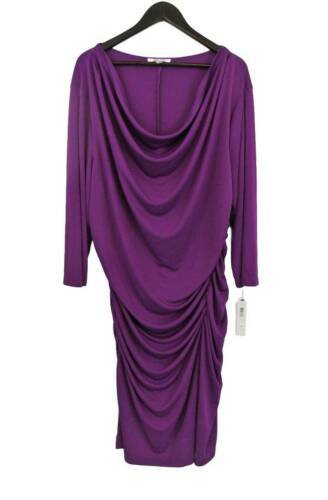 Primary image for NWT DKNY New York 3X Orchid Pink Stretch Shirred Drape Slinky Knit Dress