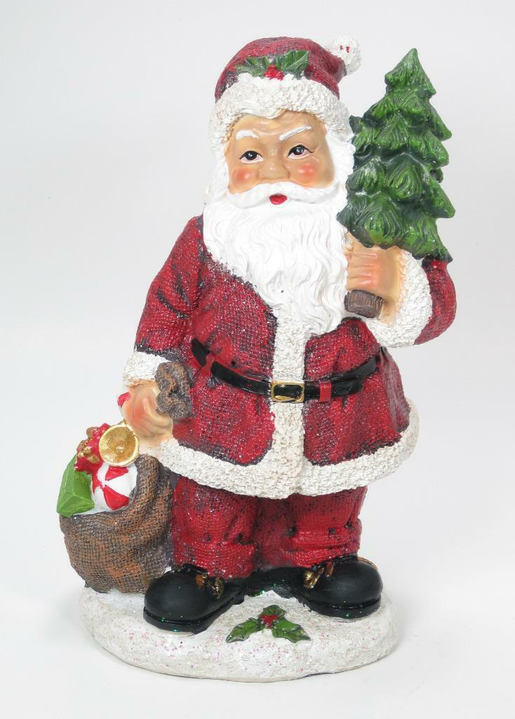 "Primary image for 8.5"" Tall Portly Santa Claus Figurine Holding Tree & Toy Sack Christmas Decor"