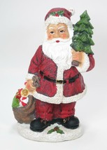 "8.5"" Tall Portly Santa Claus Figurine Holding Tree & Toy Sack Christmas Decor - $12.82"
