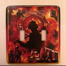 Firefighter Light Switch Plate Cover fireman Double Toggle - $10.50