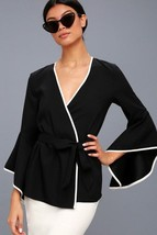 Chic Easy Elegance Classic Auden Black & White Flounce Sleeve Wrap Top-Small - $35.00