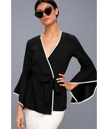 Chic Easy Elegance Classic Auden Black & White Flounce Sleeve Wrap Top-S... - $35.00