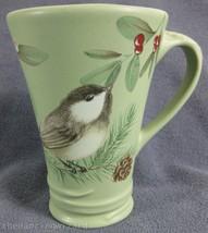 Pfaltzgraff Winterwood Green Tall Coffee Latte Mug Bird Holly Pinecone - $22.95