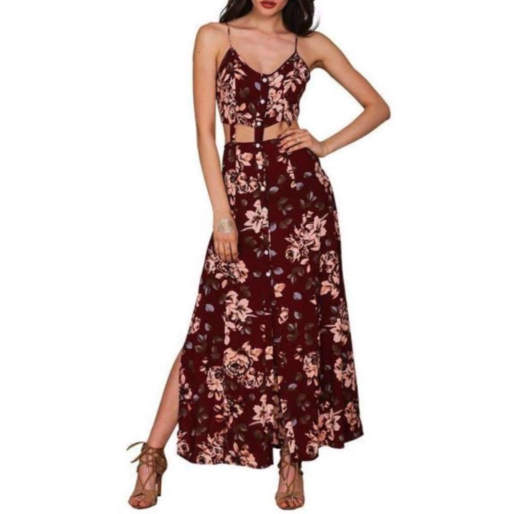 Daisy dress for less maxi dress cut out high slit floral women maxi dress 1389876445215