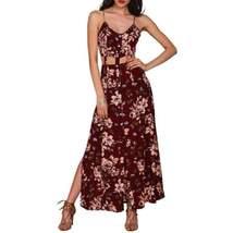 Cut Out High Slit Floral Women Maxi Dress - $29.98