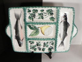 Italy Handled FISH Serving Tray 5-Section Divided Shafford Green Trim - £27.10 GBP