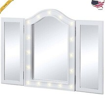 Womens Bedroom Lighted Tabletop Tri-Fold Vanity Mirror W/LED Lights - $81.56