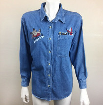 Womens Honors Small Christmas Embroidered Denim Button Front Shirt Vinta... - $10.88