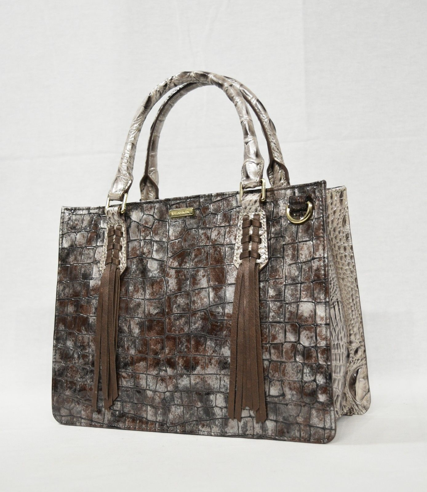 NWT Brahmin Small Camille Leather Satchel/Shoulder Bag in Brown Charente