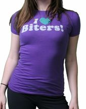 DGK Dirty Ghetto Kids Womens Girls I Love Biters Black or Purple T-Shirt NWT image 3