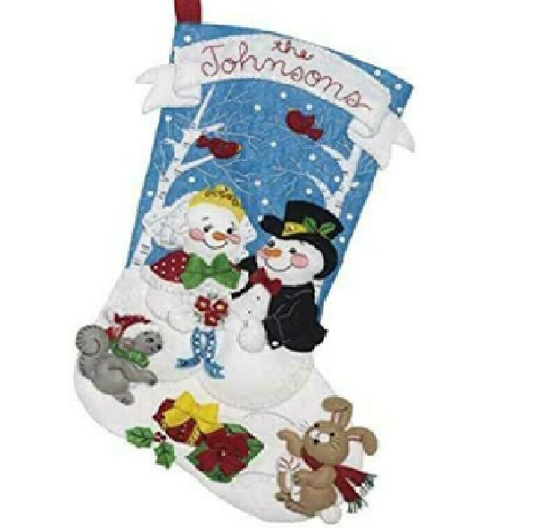 Primary image for Bucilla - 'Bride and Groom' -  Christmas Felt Stocking Applique Kit -86943E
