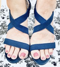 Liz Claiborne Women's Heels Sandals Size 9 1/2 M Straps Blue Pumps - $10.35