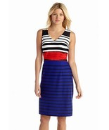 NWT NINE WEST BLUE WHITE STRIPED CAREER SHEATH DRESS SIZE 12 SIZE 14 $99 - $30.53