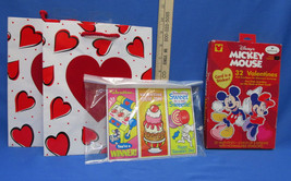 Box Mickey Mouse Sticker Valentines Other Valentine Cards & 2 Heart Gift... - $9.49