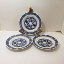"3 Salad Plates Blue White Floral Kingstone Nikko 7.25"" Japan - $14.50"