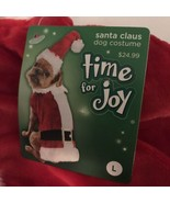 New! Time for Joy Claus Claus Dog Christmas Santa Outfit Size Large - $14.24