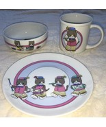 Vtg Japanese 3Pc China Baby Feeding Set Cup Plate Bowl Kittens Band Play... - $34.60