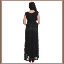 Long Plus Size Sleeveless Black Lined Lace Maxi W/ Ribbon Tied Empire Waist Gown image 4