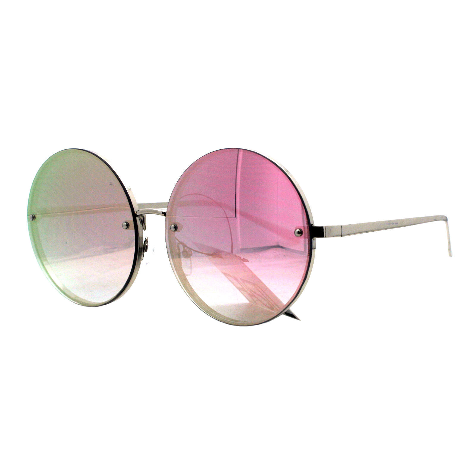 PASTL Super Oversized Round Sunglasses Womens Pink Mirror Lens UV 400 image 3