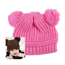 Pretty Pink Cute Baby Kids Winter Warm Hat Dual Ball Knitted Soft Sweate... - $3.64
