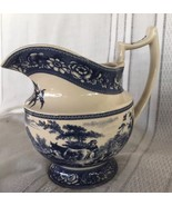 English Country Maiden Cow Ceramic Pitcher Blue Double Rampant Lion Shie... - $39.99