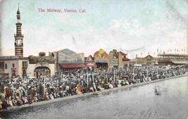 Crowded Midway Venice California 1907 postcard - $6.93