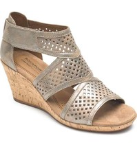 Rockport Cobb Hill Women's Janna Leather Wedge Sandal Metallic 8 M Us CH4517 - $98.99