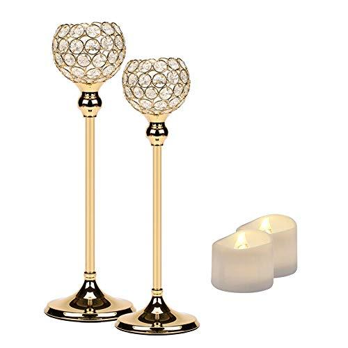 Manvi Gold Crystal Candle Holders Set of 2 for Table, Tall Taper Tealight Candle