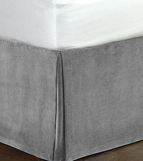 "Primary image for New Queen Size 15""Drop 100% Cotton Velvet Bedskirt/Valance Box Pleated - Silver"