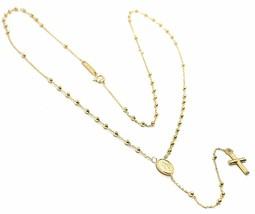 Mini Collier Chapelet or Jaune 750 18K, Médaille Miraculeuse, Croix, 48 CM - $340.83
