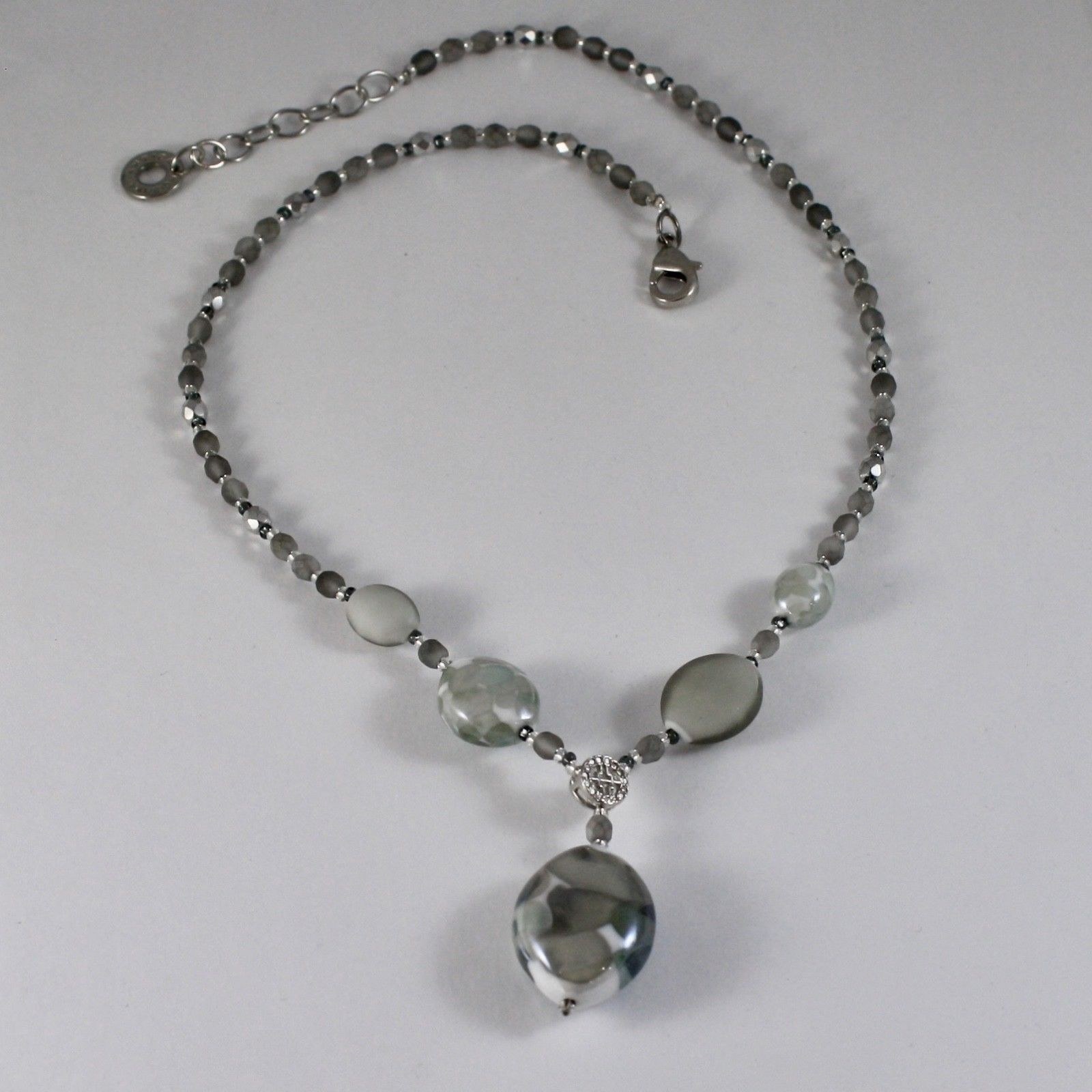 ANTICA MURRINA VENEZIA NECKLACE WITH WHITE AND GREY MURANO GLASS CO926A12