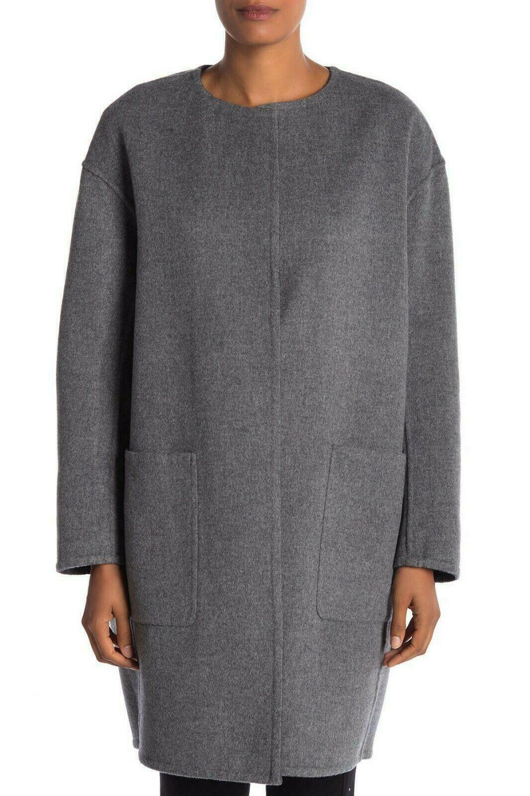 Vince Women's Reversible Coat Double Faced Wool Blend Size Large Grey - $275.99