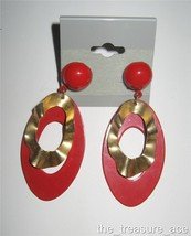 "~80s~Wavy Brass Metal RED Enamel OVAL Hoop~2 1/2""~DANGLE Pierced Earring... - $6.88"