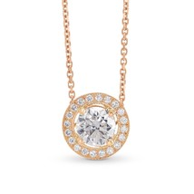 0.83Cts Colorless Diamond Halo Pendant Necklace Set in 18K  Rose Gold GI... - $4,900.50